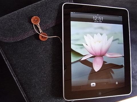 i padの画面に用意されていたロータスの花。持ち歩くのにケースは必需品。 法事の次の日に会った友人が、ロータスの花のTシャツを着て来てびっくりした。