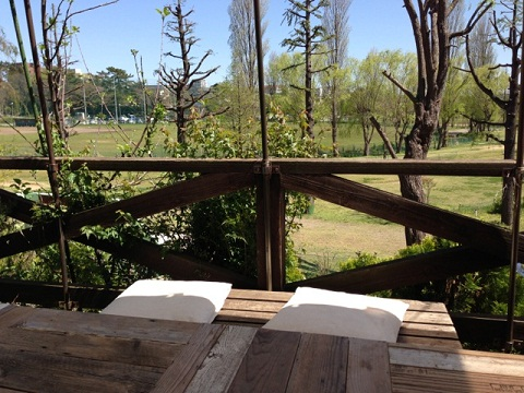 公園を見下ろす眺めの良いテラスで玄米と野菜のランチを食べた。フレンチローストのコーヒーも美味しかった。
